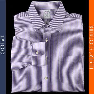 BROOKS BROTHERS 16 33 Slim Fit Striped Dress Shirt